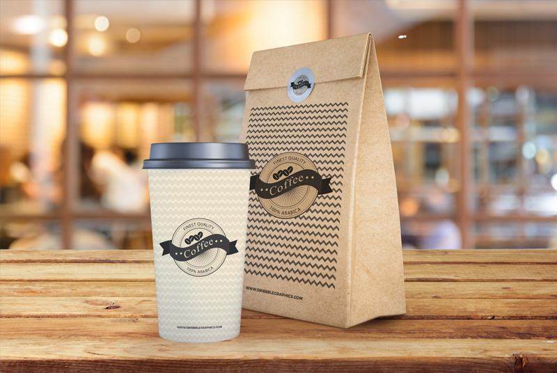 Free-Coffee-Cup-With-Paper-Bag-Packaging-Mockup-PSD-Template