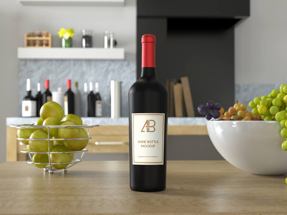 Wine-Bottle-on-Kitchen-Table-Mockup