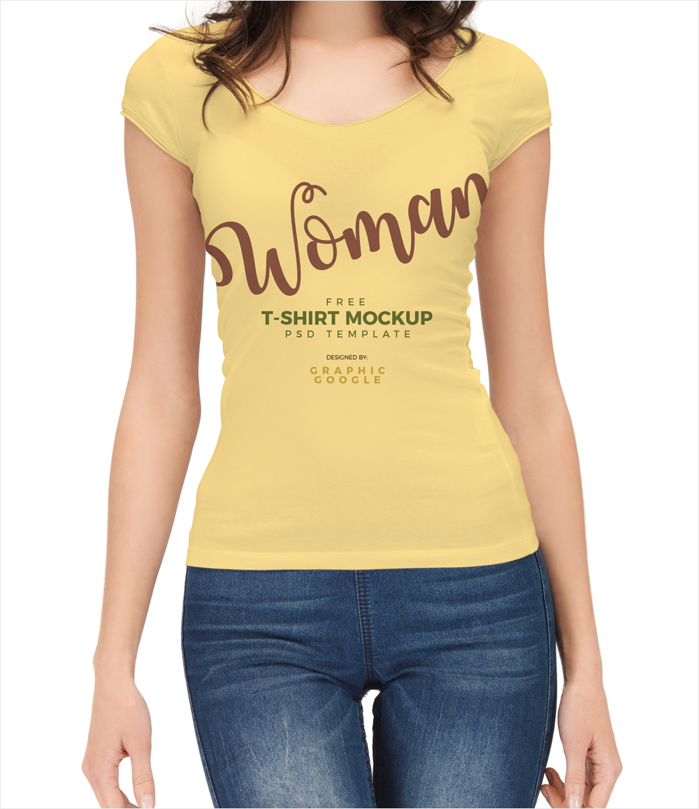 Free-Beautiful-Girl-Wearing-T-Shirt-Mockup