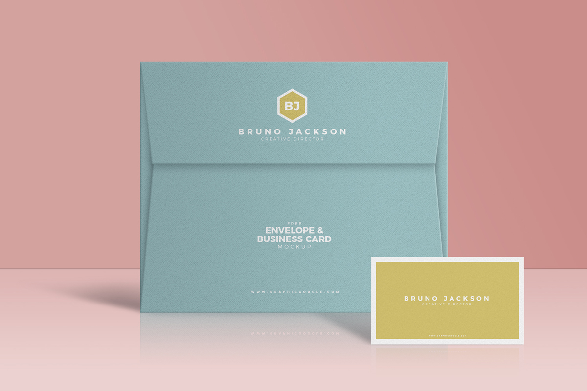 Free-Envelope-With-Business-Card-Mockup