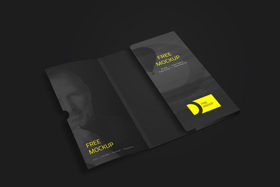 Folder-with-Business-Card-Mockup