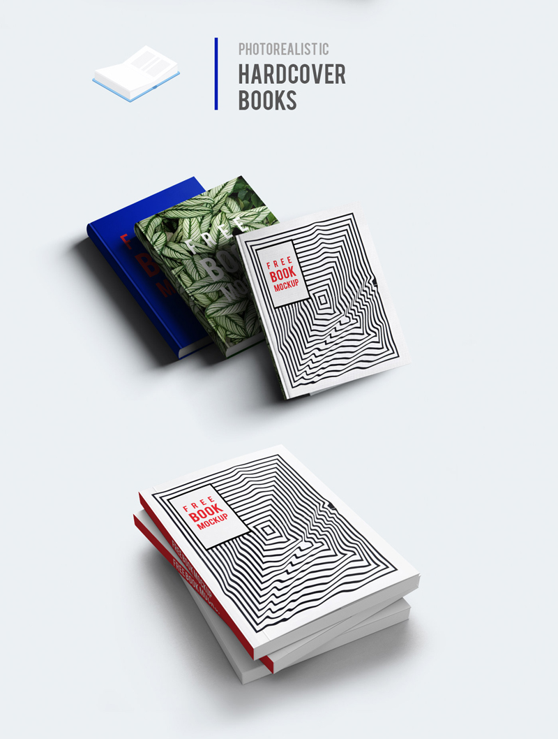 Hardcover Book With Pictures : Free hardcover book mockup set