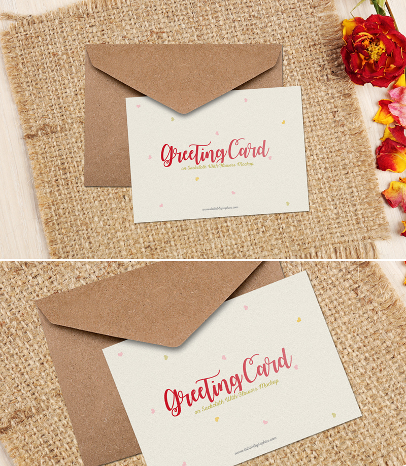Free-Floral-Greeting-Card-on-Sackcloth-Mockup