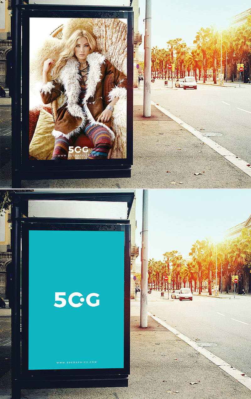 Free-Outdoor-Bus-Stop-Branding-Billboard-Mockup