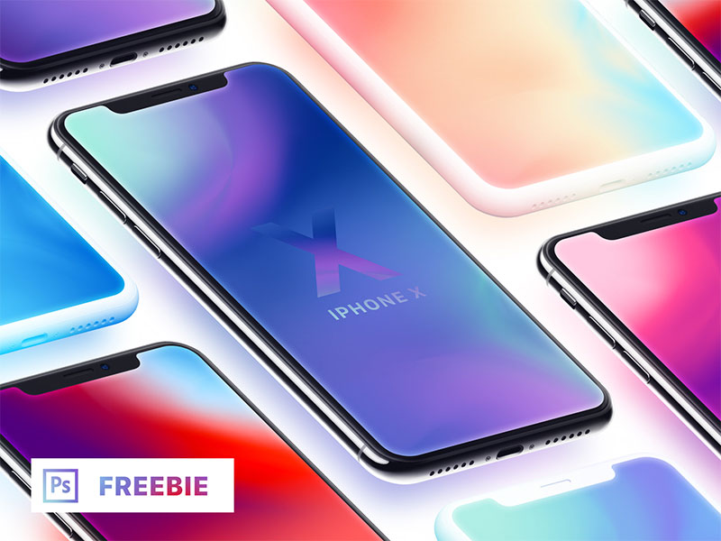 Isometric-iPhone-X-With-Clay-Mockups-Free