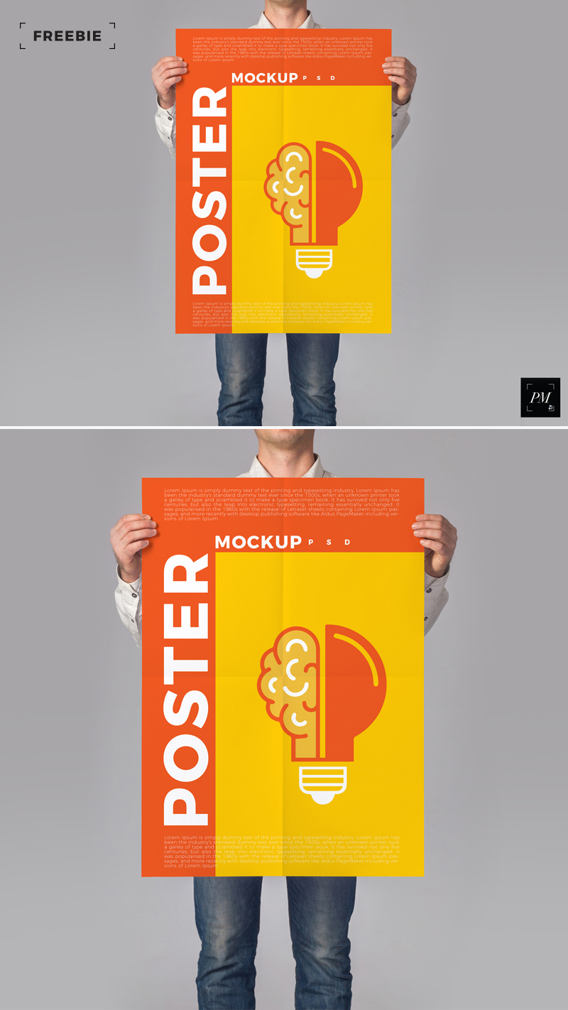 Free-Standing-Man-Holding-Poster-Mockup-PSD-2018-600