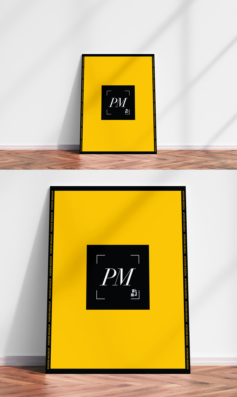 Free-Classy-Interior-Poster-Mockup-PSD-Standing-on-Wooden-Floor-2018