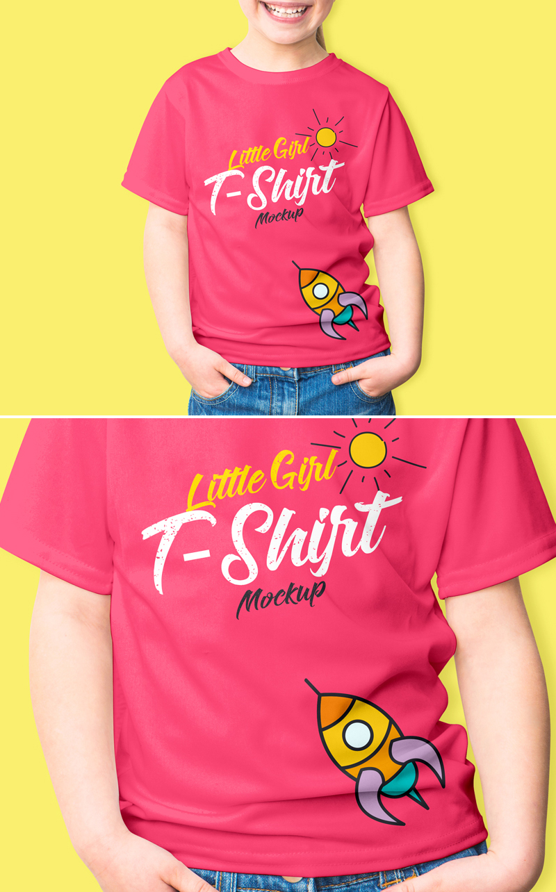 Free-Smiling-Little-Girl-T-Shirt-Mockup-PSD-2018