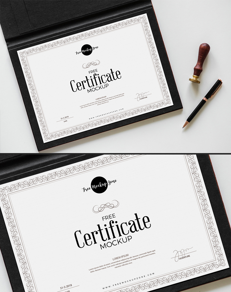 Free-Certificate-With-File-Mockup-PSD-600
