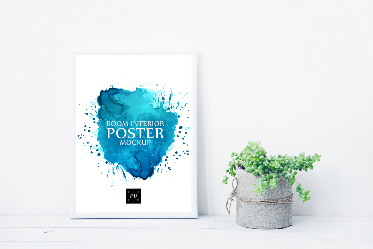 Free-Elegant-Concrete-Plant-Pot-With-Poster-Mockup