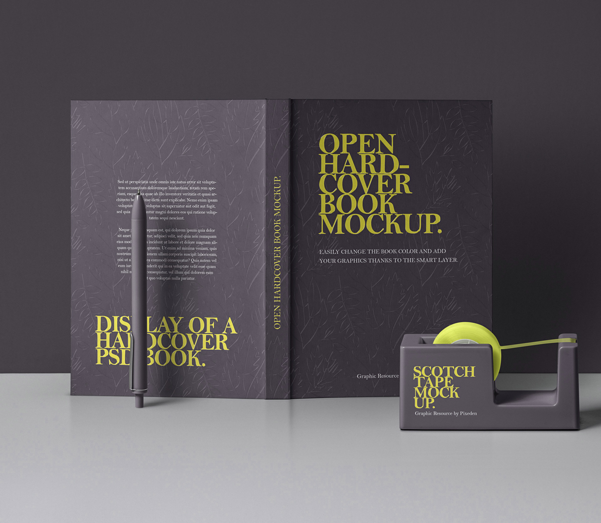 Free-Open-Hardcover-Book-With-Scotch-Tape-Mockup-PSD