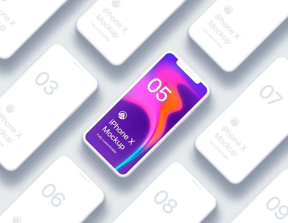 Free-iPhone-X-Clay-Isometric-2-Fully-Customizable-Mockup-PSD-2018-300