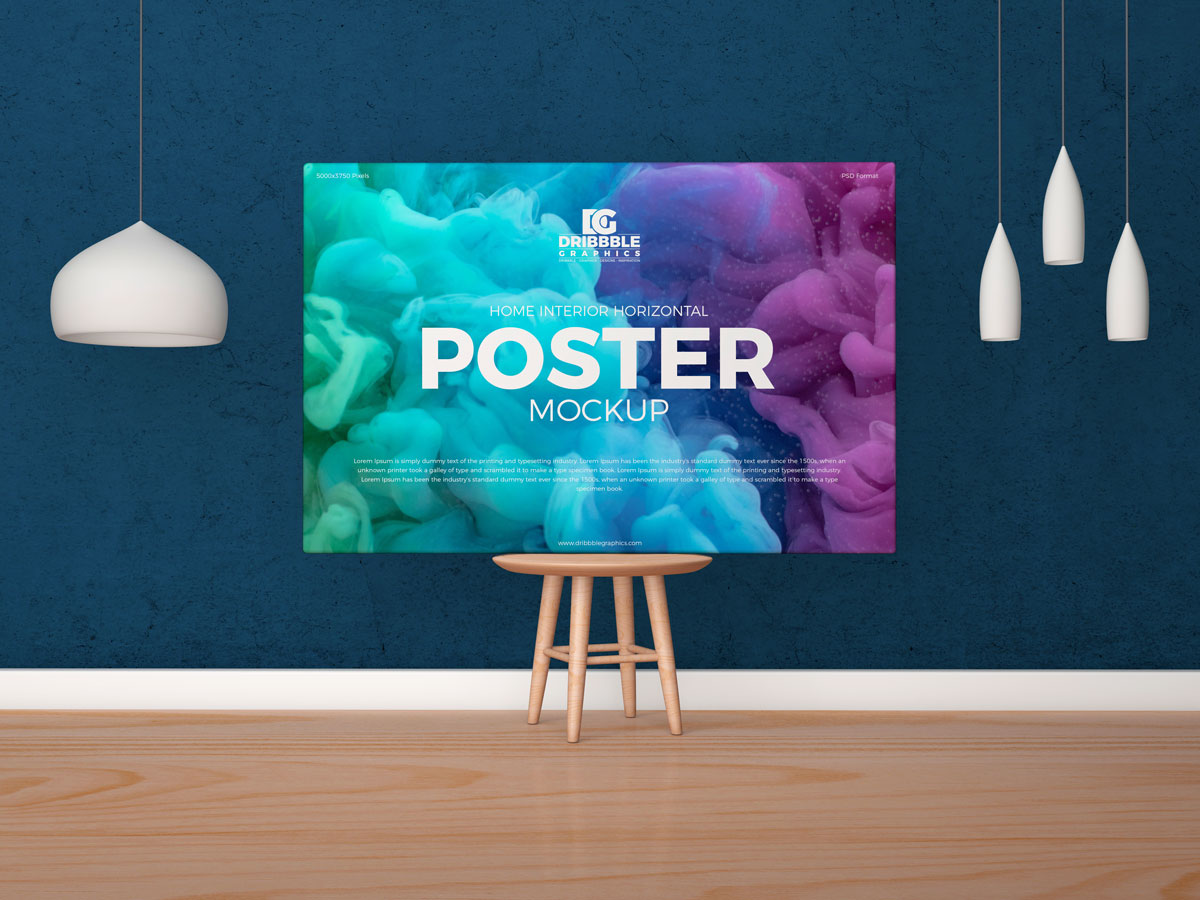Free-Horizontal-Poster-Canvas-Placing-on-Wooden-Chair-Mockup-Design