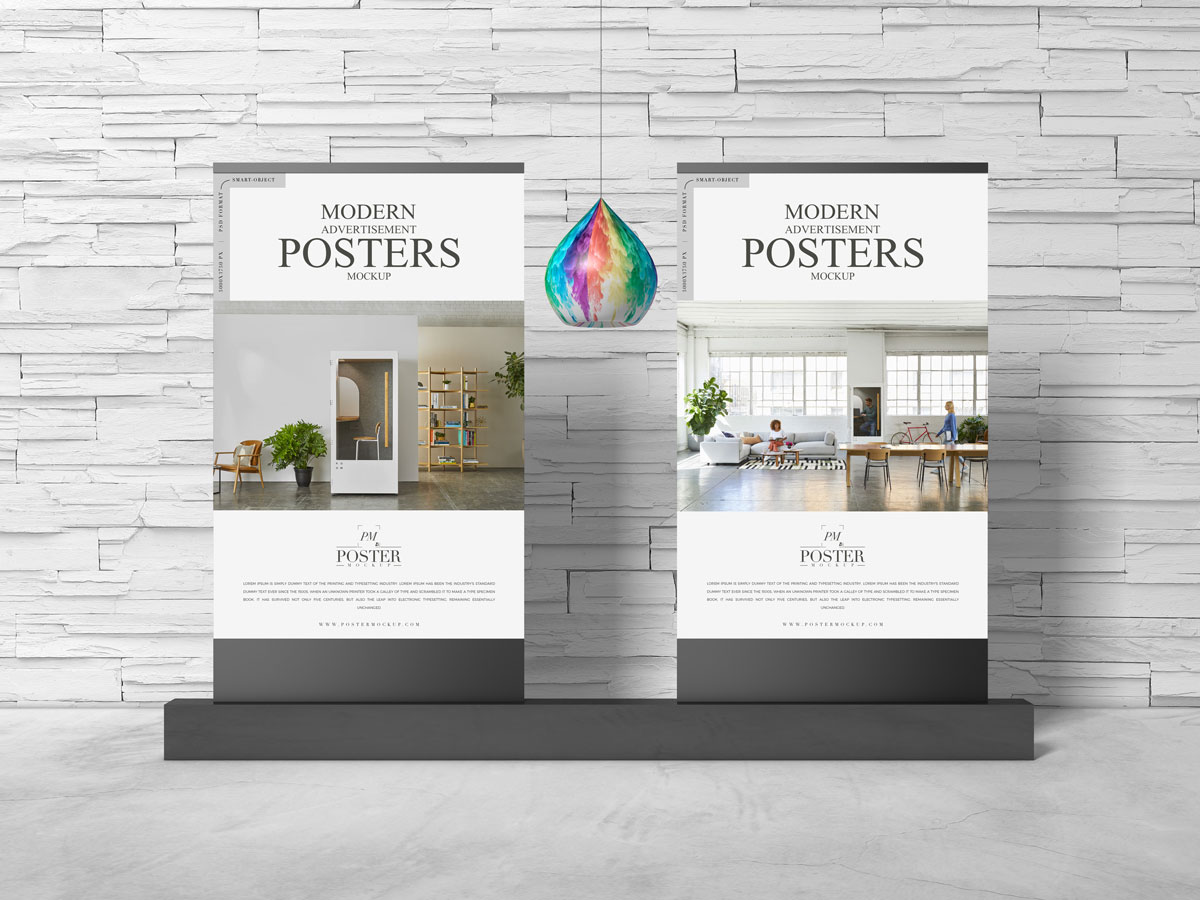 Free-Advertisement-Stand-Posters-Mockup-Design