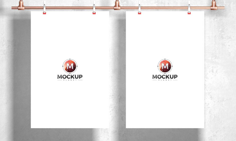 Free-Hanging-With-Clip-Poster-Mockup-Design-For-Branding