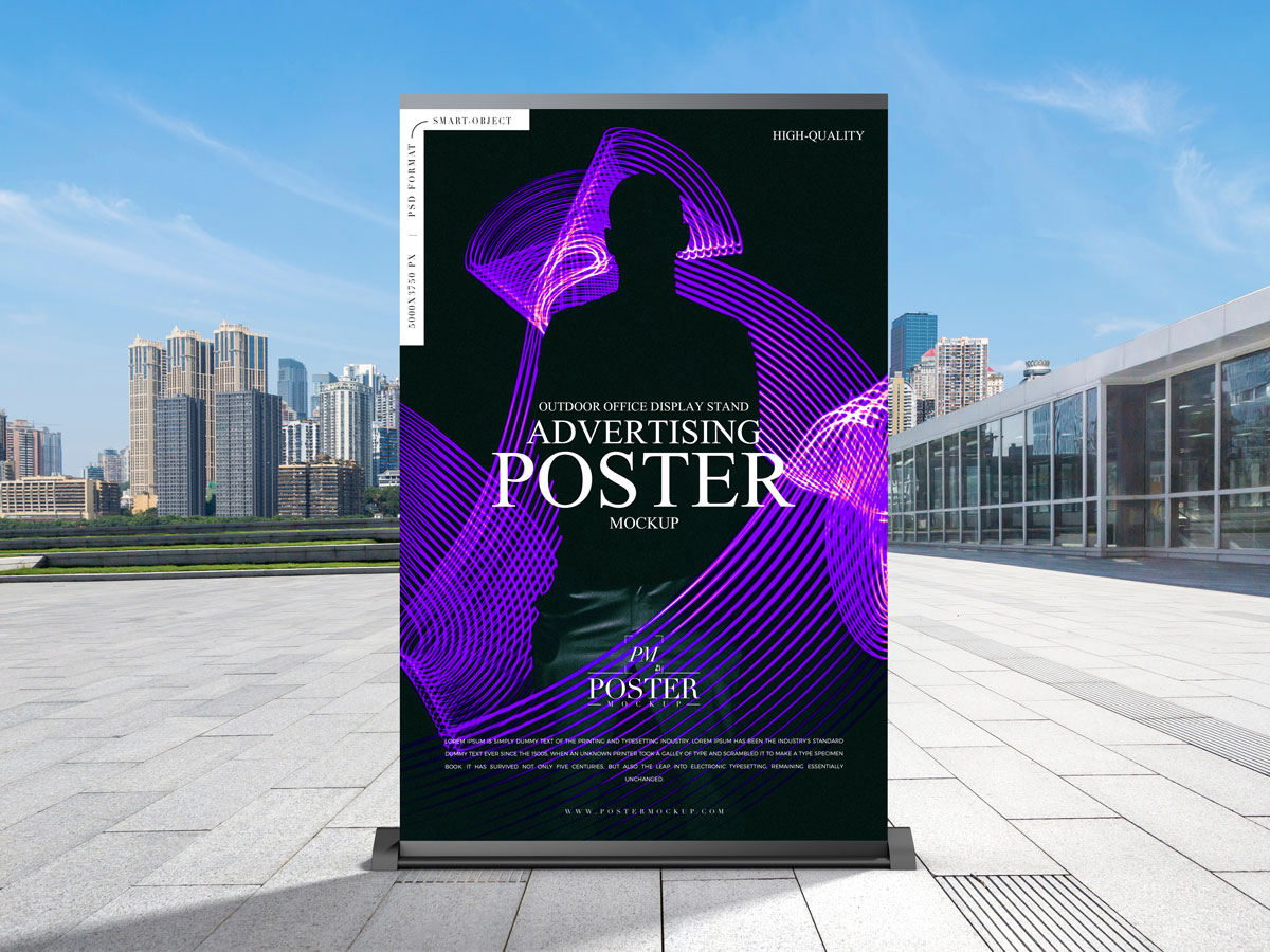 Free-Outdoor-Advertisement-Stand-Poster-Mockup-Design