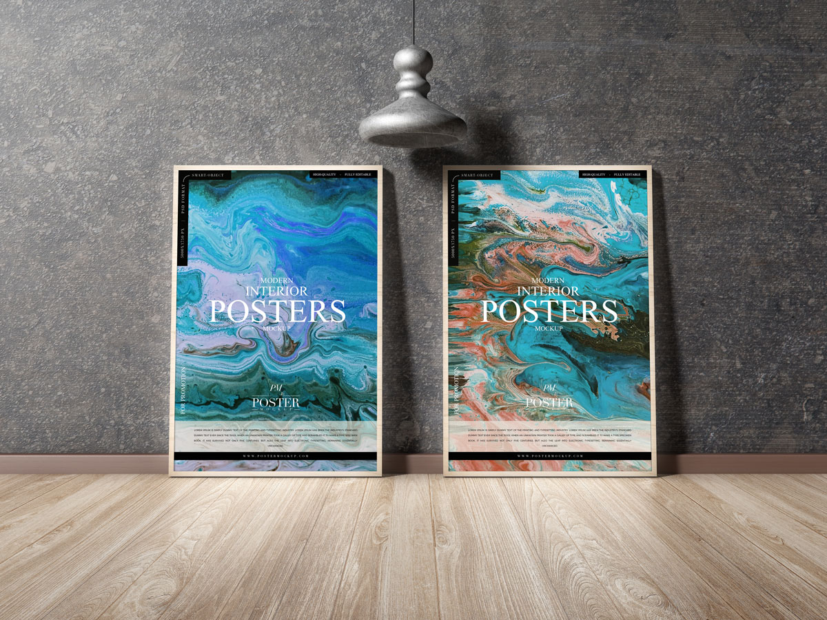Free-Modern-Posters-Placing-on-Wooden-Floor-Mockup-Design