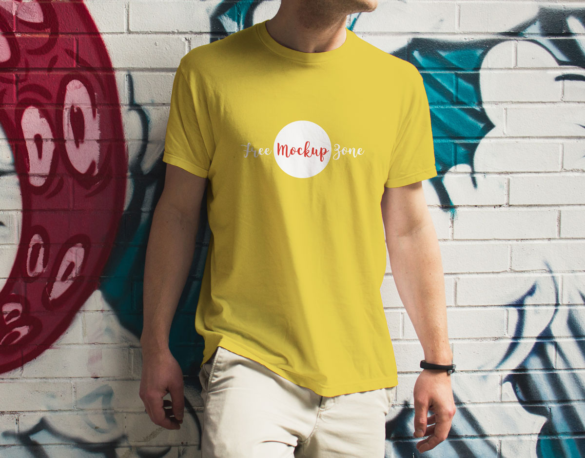 Free-Outdoor-Street-Boy-Wearing-T-Shirt-Mockup-Design