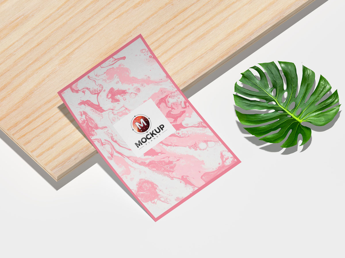 Free-Curved-Poster-Placing-on-Wooden-Sheet-Mockup-Design