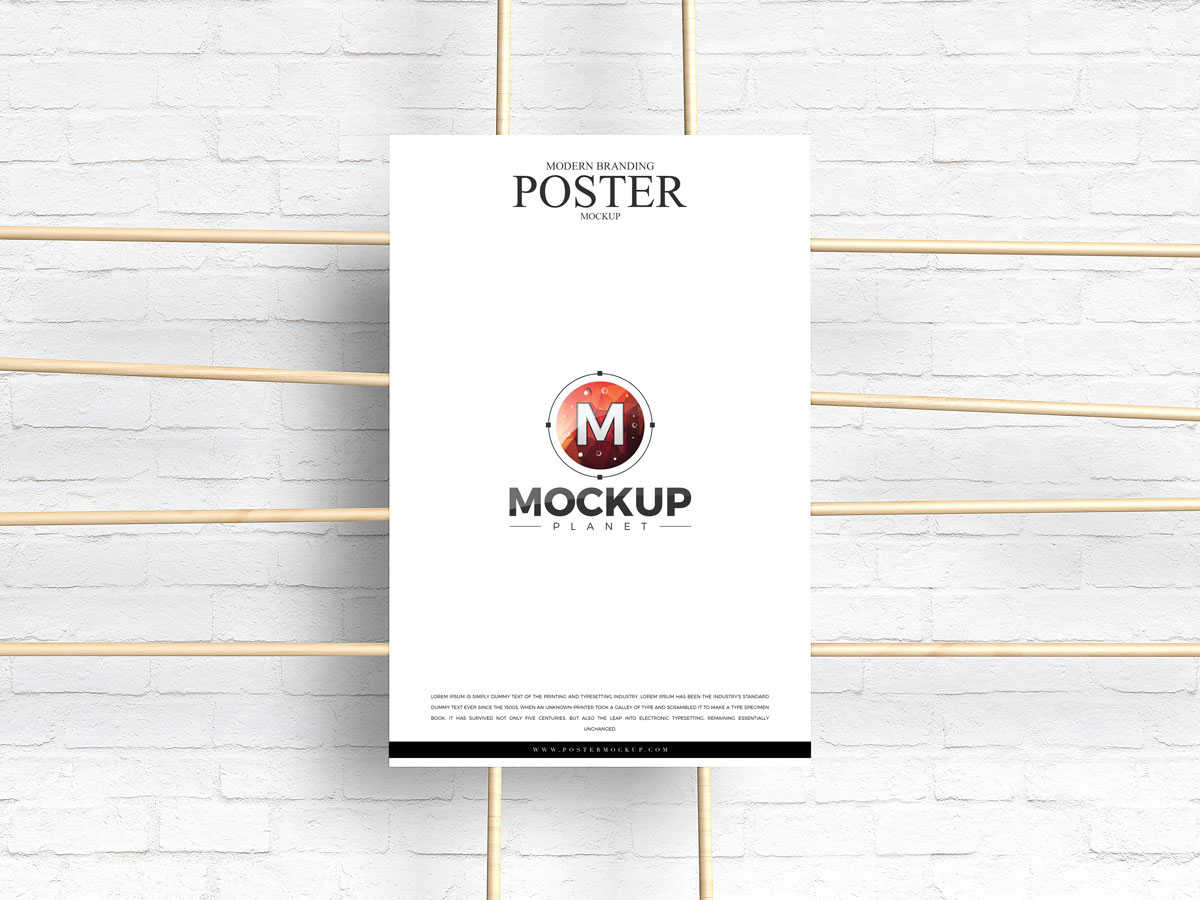 Free-Poster-Attached-With-Wooden-Sticks-Mockup-Design
