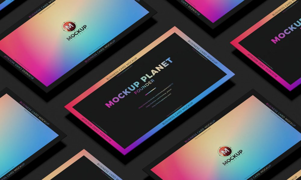 Free-Grid-Business-Card-Mockup-Design