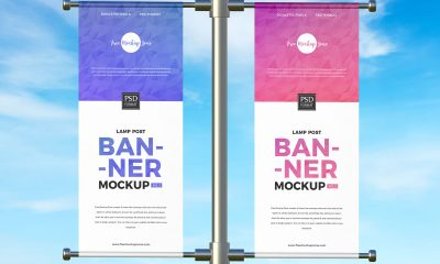 Free-Outdoor-Advertising-Lamp-Post-Banner-Mockup-Design