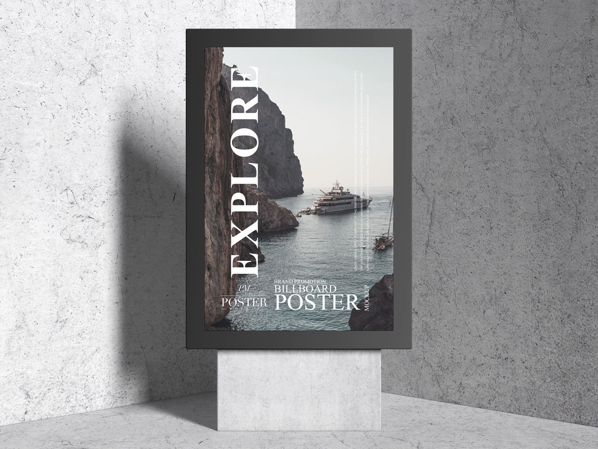 Free-Front-View-Modern-Stand-Poster-Mockup-Design