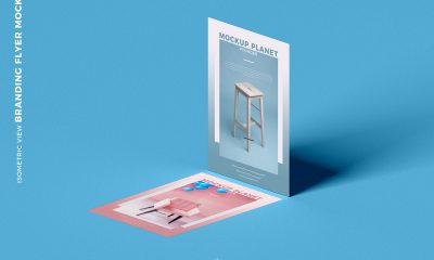 Free-Isometric-View-Branding-Flyer-Mockup-Design