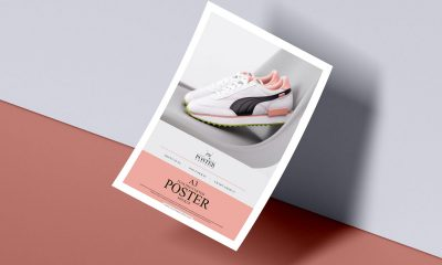Free-A3-Curved-Paper-Floating-Poster-Mockup-Design