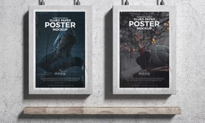 Free-Two-Concrete-Framed-Glued-Paper-Poster-Mockup-Design