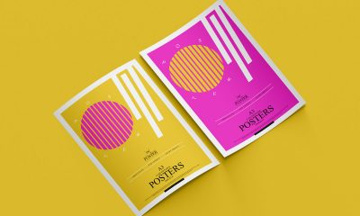Free-Fabulous-A3-Curved-Papers-Poster-Mockup-Design