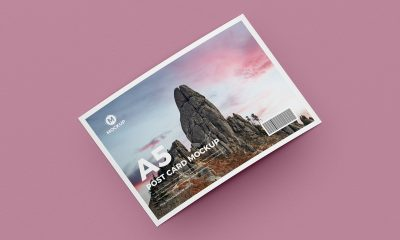 Free-Curved-A5-Post-Card-Mockup