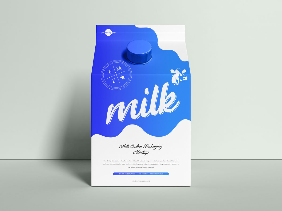 Free-Front-View-PSD-Milk-Carton-Packaging-Mockup-Design