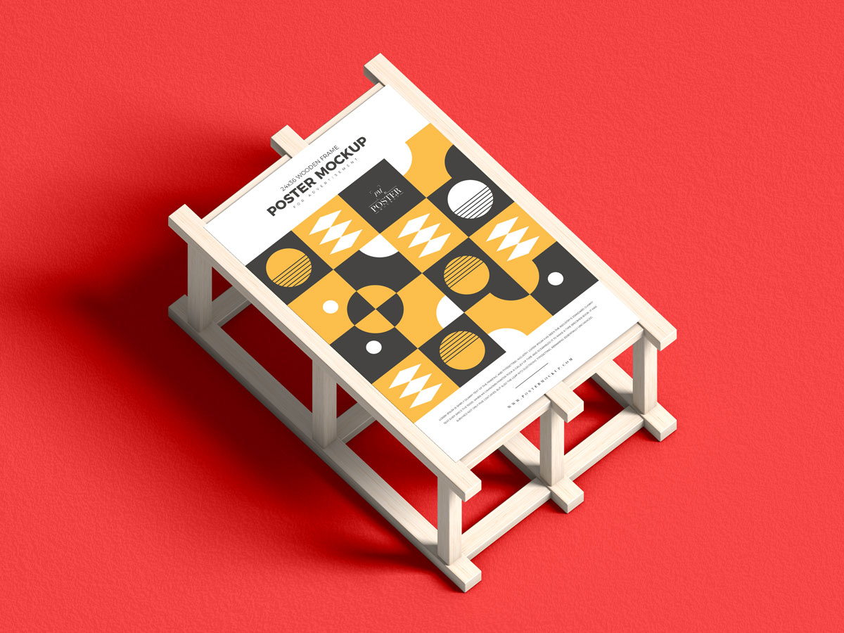 Free-Wooden-Stand-With-24x36-Poster-Mockup-Design