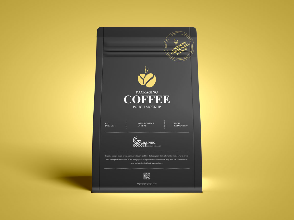 Free-Front-View-Coffee-Pouch-Packaging-Mockup-Design