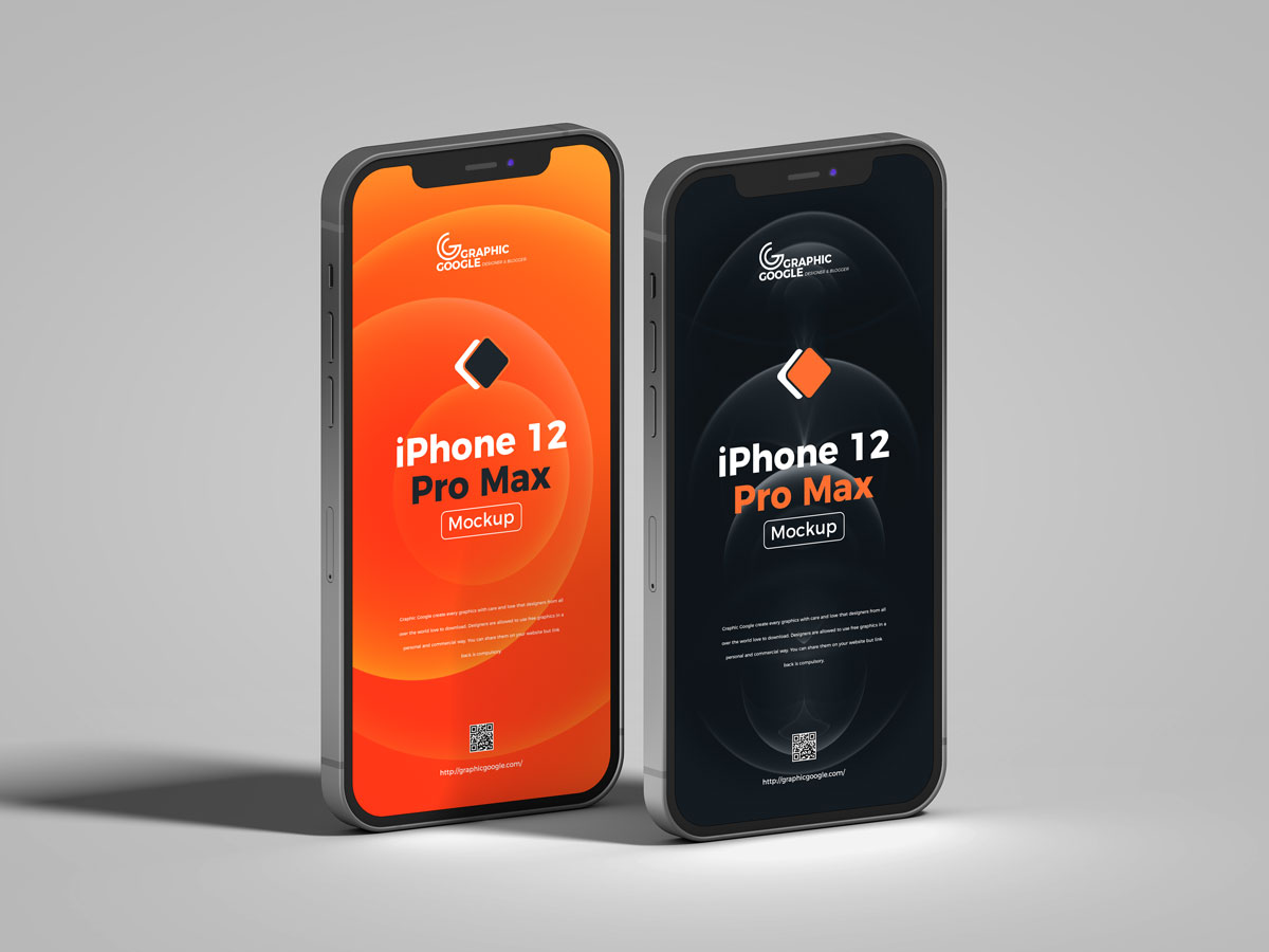 Free-Standing-View-iPhone-12-Pro-Max-Mockup-Design