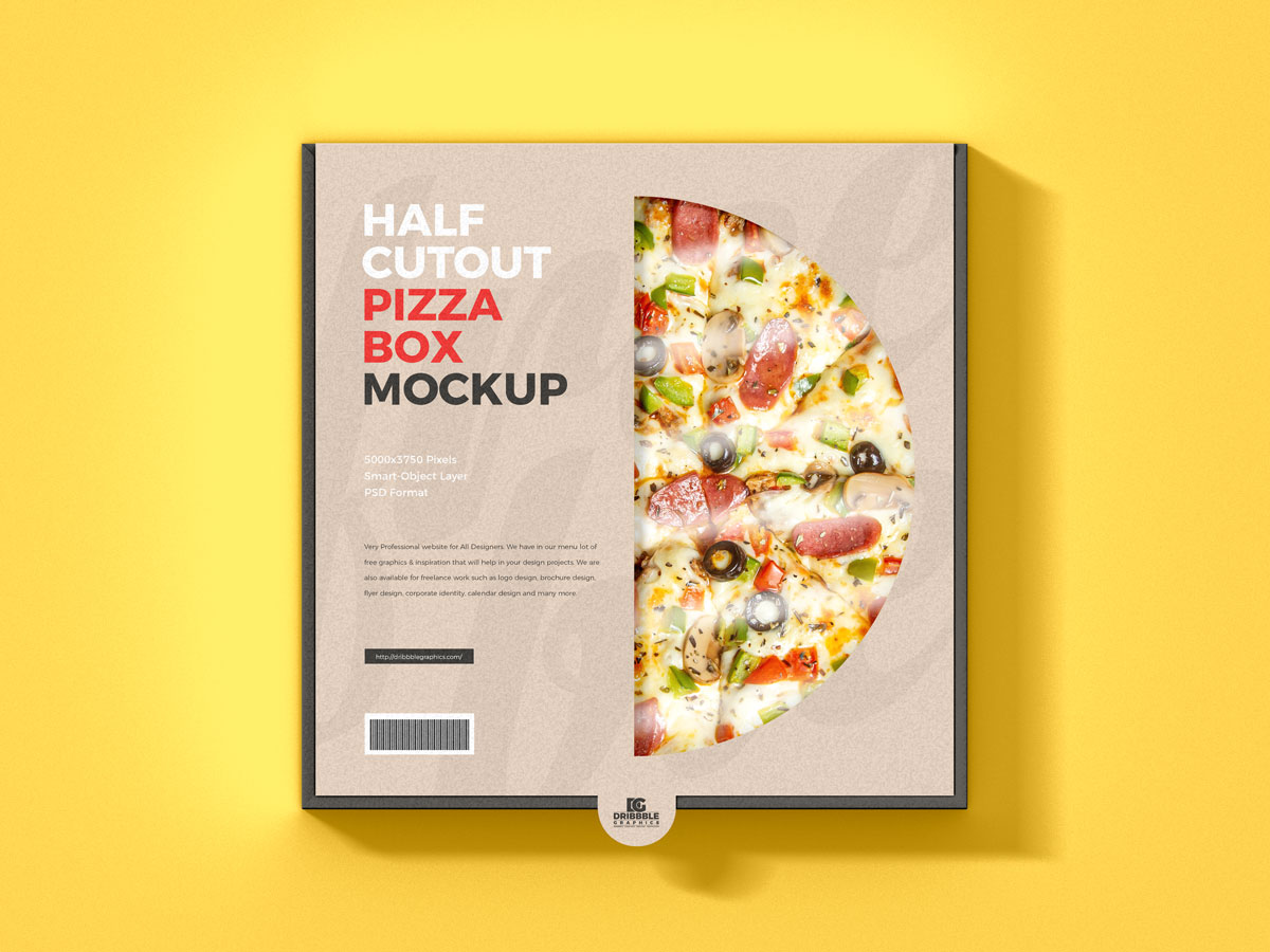Free-Top-View-Pizza-Packaging-Box-Mockup-Design