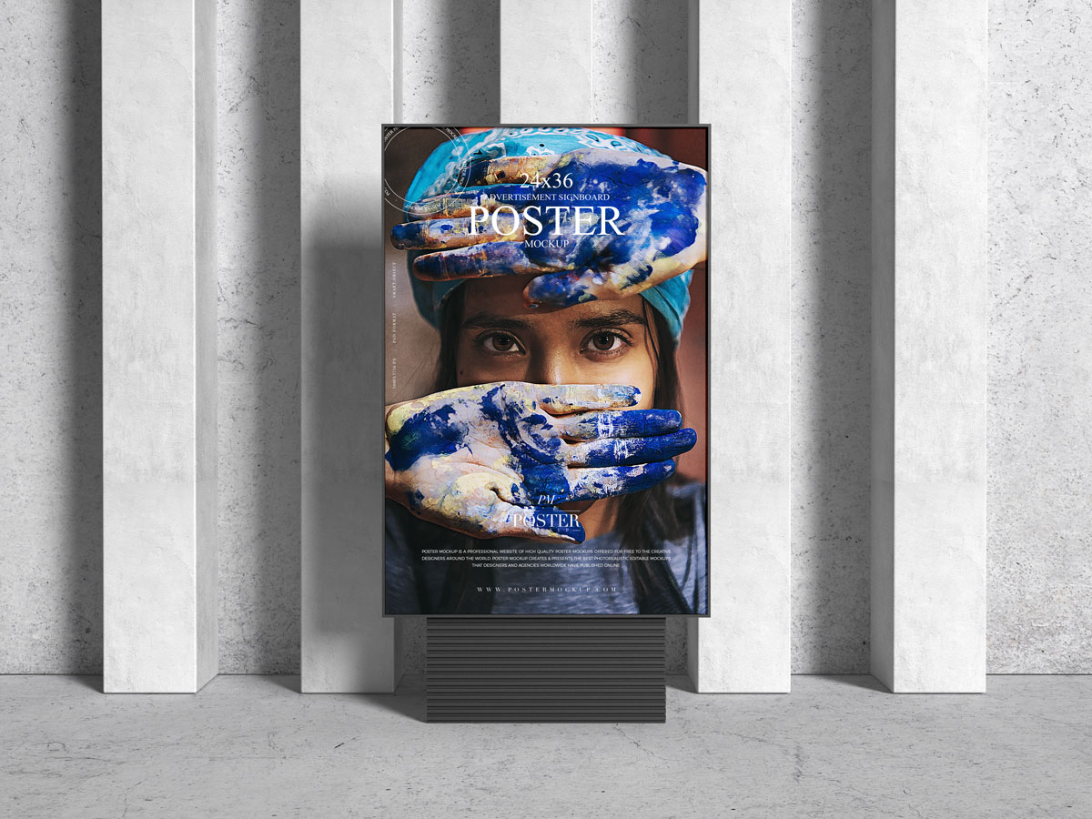 Free-Front-View-24x36-Advertising-Poster-Mockup-Design