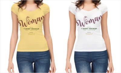 Beautiful-Girl-Wearing-T-Shirt-Mockup