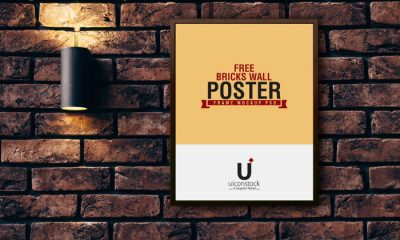 Hanging-Poster-Frame-Mockup-on-Bricks-Wall