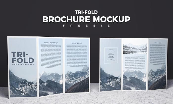 Free Front & Back Tri-Fold Brochure Mockup PSD 2018 ...