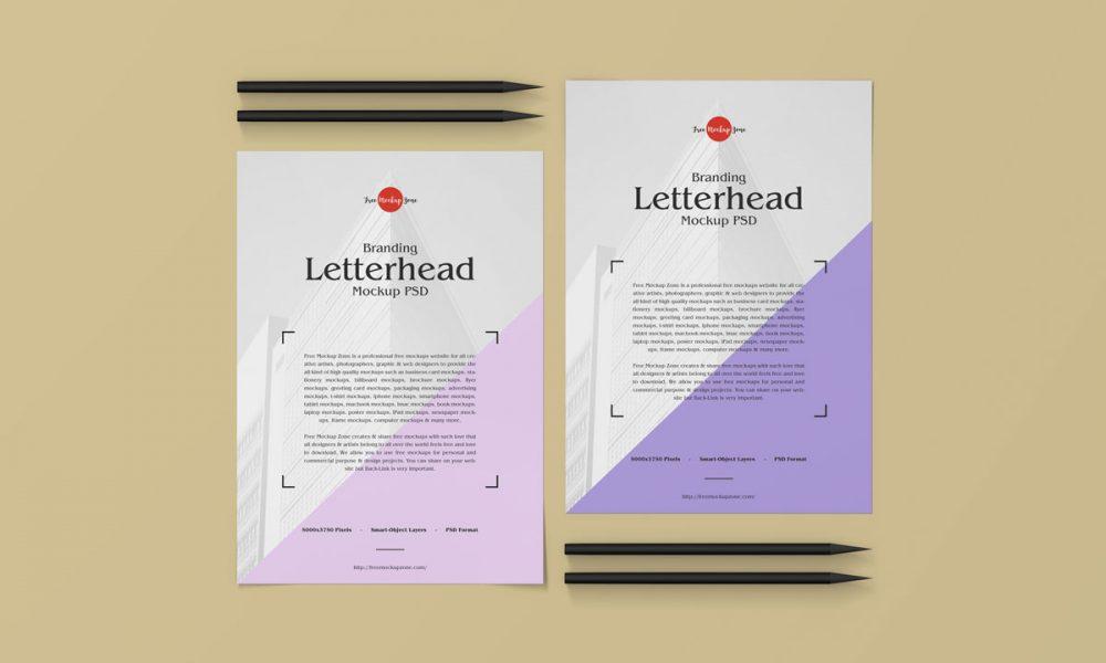 Free-Top-View-PSD-Letterhead-Mockup-Design
