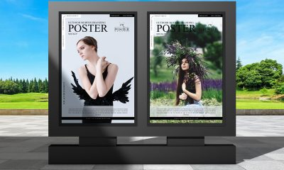 Free-Outdoor-Stand-Display-Poster-Mockup-Design-For-Advertisement