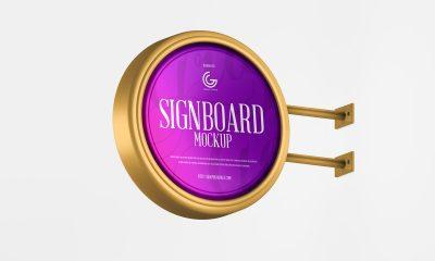Free-Metallic-Round-Shape-Signboard-Mockup-Design