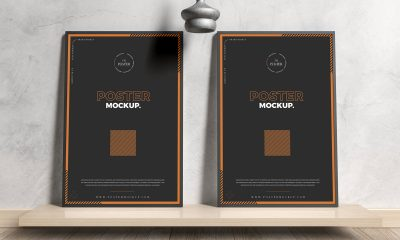 Free-Wooden-And-Concrete-Interior-Framed-Posters-Mockup-Design