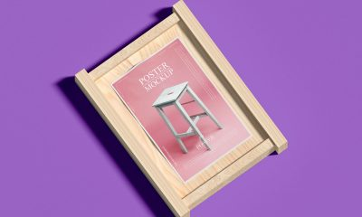 Free-Wooden-Frame-With-Poster-Mockup-Design