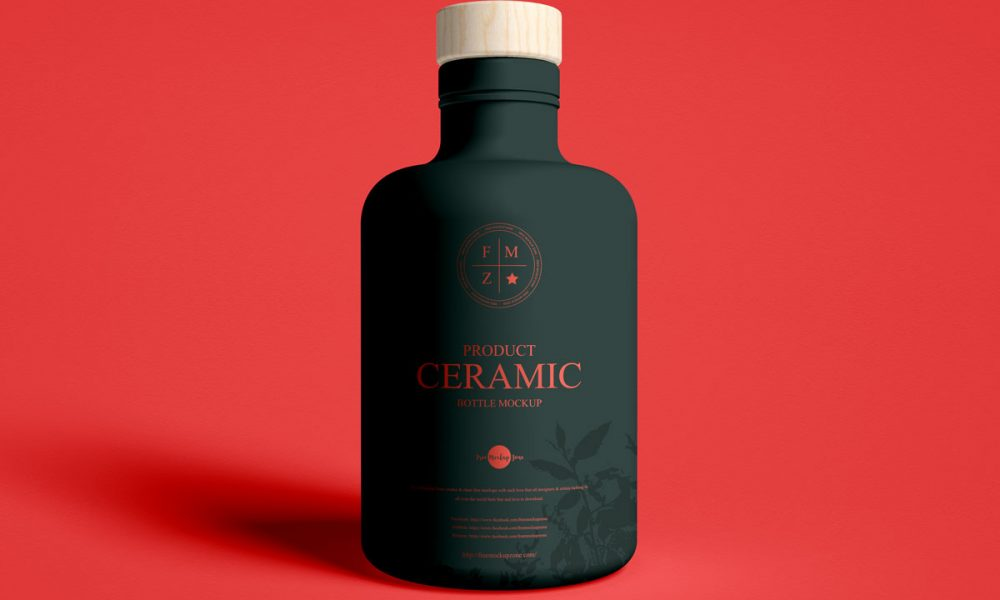 Free-Front-View-Brand-Ceramic-Bottle-Mockup-Design