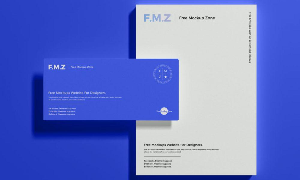 Free-Top-View-Modern-Branding-Letterhead-Mockup-Design