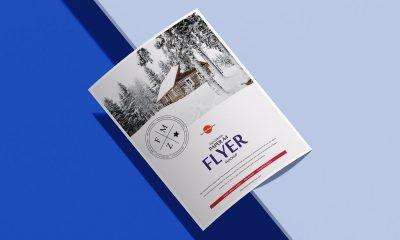 Free-A4-Curved-Paper-Branding-Flyer-Mockup-Design