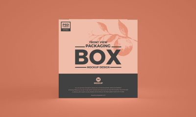 Free-Front-View-Box-Packaging-Mockup-Design